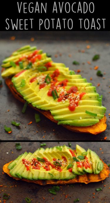 Vegan Avocado Grilled Sweet Potato Toast Snacks - 5 Vegan Whole Food Snacks - Healthy, Simple, College, Kid Snacks - Rich Bitch Cooking Blog