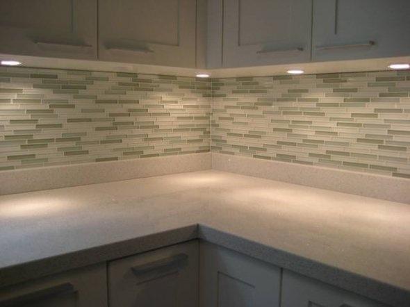 Kitchen Backsplash Green Glass Tile With Under Cabinet Lighting Part 58