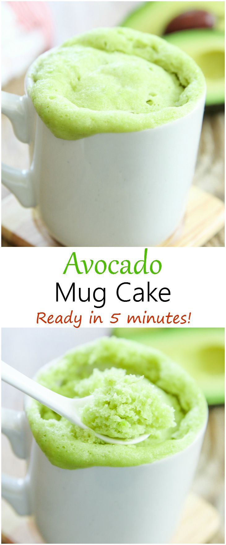 Avocado Mug Cake. A naturally spring green cake that is ready in 5 minutes.