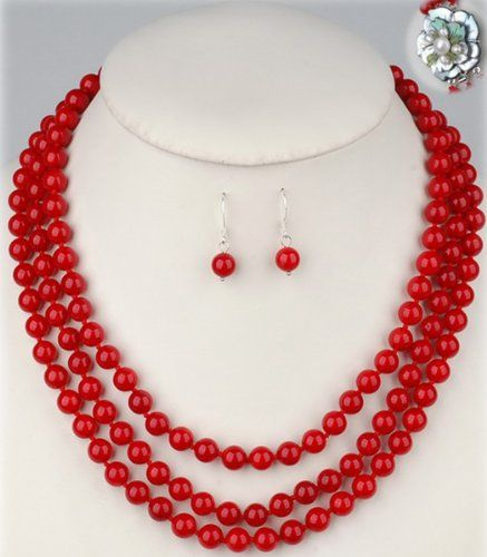 Hydia Three Strands 8mm Round Red Coral Necklace & Earrings Set Flower Shell Clasp Hydia Stone Jewelry http://www.amazon.com/dp/B00ELY4TA8/ref=cm_sw_r_pi_dp_YxeRtb0TTR9CXYA0