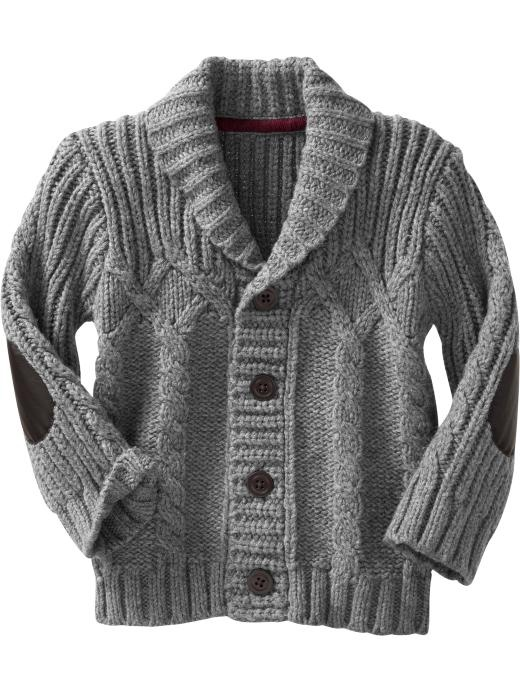 "I was thinking this newborn cardigan looked like one of my grandpa's cardigans...it's called ""Grandpa Cardigan."" Ha ha."