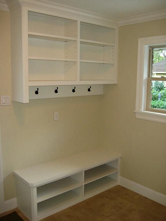 Mud Room In Corner Of Laundry Room White Wood Bench