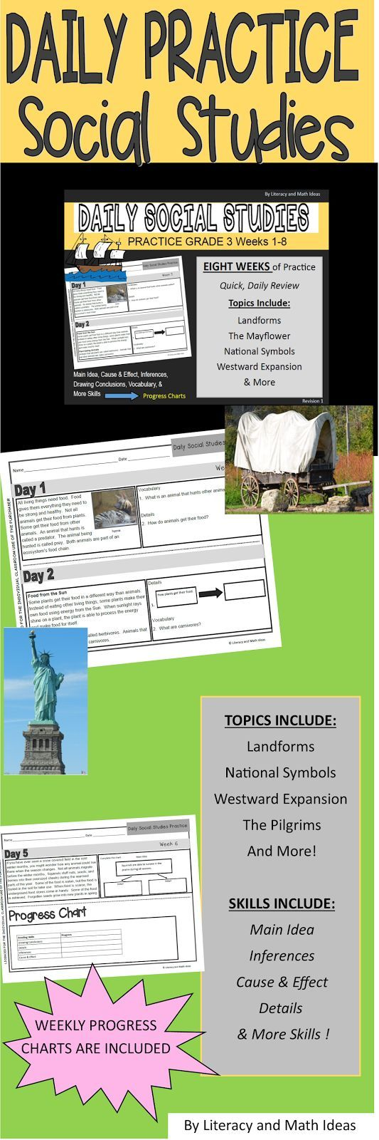 TWO MONTHS of Daily Social Studies Practice in one bundle.  In just five minutes a day, review biomes, landmarks, history, and more topics.  Daily questions cover inferences, main idea, drawing conclusions, vocabulary, cause and effect, and more topics.$