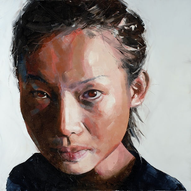 """""""Crawling from the wreckage"""" - Simon Birch {contemporary art female head woman face portrait painting} Intimidating !!"""