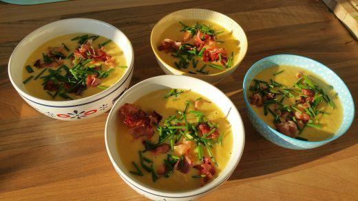Mais Soep met Bacon en Koriander #soup #mais #bacon #koriander #easy #recept #soep #foodie #healthy #yum