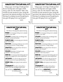 Kindergarten Survival Kit Freebie | Beginning of the ...