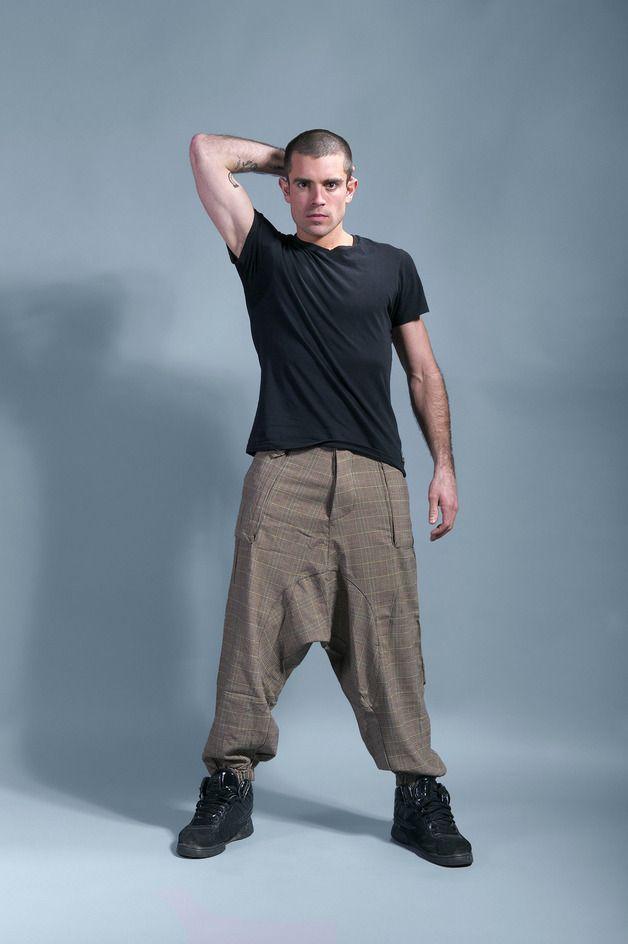 """Pantalons, sarouel homme écossais beige""""PULP"""" est une création orginale de tuktukshop sur DaWanda"""