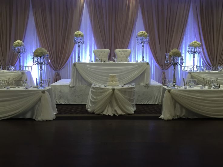 Head Table Decorations Wedding Reception Wedding Dress: Champagne And Ivory Backdrop. 5 Tier Head Table Made For