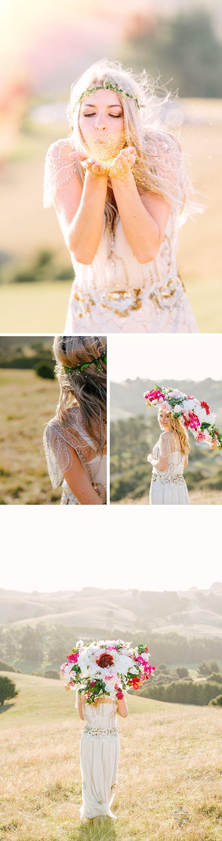 glitter blowing wedding prop, handmade floral umbrella prop by lavara photography