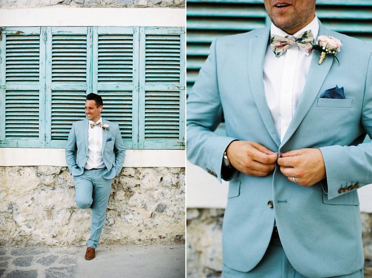 Groom wears a light blue suit and floral tie | Photography by http://becky-bailey-photography.squarespace.com/about