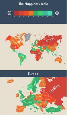 """Hier geht es zur Weltkarte der """"glücklichsten"""" Länder: http://www.travelbook.de/welt/Deutschland-nur-auf-Platz-46-Weltkarte-der-gluecklichsten-Laender-568718.html"""
