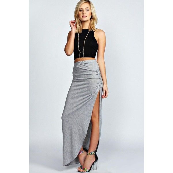 Boohoo Basics Tamsin Ruched Side Jersey Maxi Skirt ($14) ❤ liked on Polyvore featuring skirts, grey, maxi skirt, aztec maxi skirt, floral midi skirt, skater skirt and long circle skirt