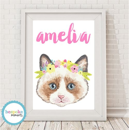 Kitten Flower Crown Name Print by Bespoke Moments. Worldwide Shipping Available.