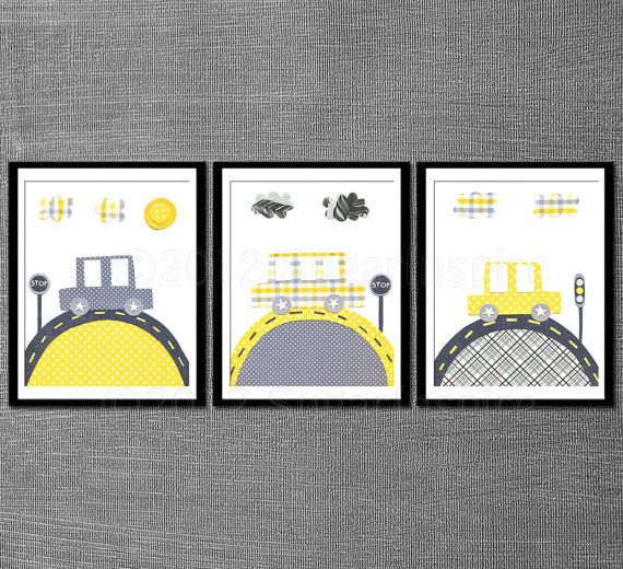 Yellow and grey baby room decor, Nursery art print set, Kids Room Decor, baby boy room - pottery barn Alexander bedding