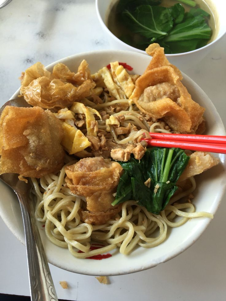 breakfast with pork noodle at Bakmi (Noodle) Siang Kie, Semarang, Central Java.