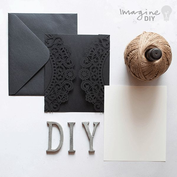 Blank laser cut wedding stationery to decorate yourself. Black laser cut wedding invitation with insert and envelope. DIY wedding stationery supplies.