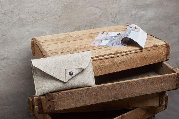 Beige Merino wool felt clutch bag beige large by FeltinLoveBags