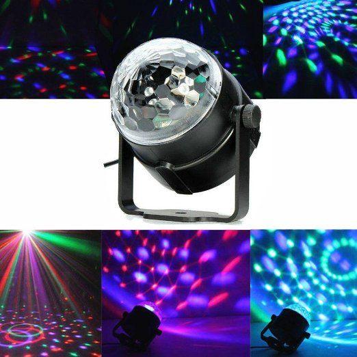 SOLMORE Mini palla lampada magica fase Luci da palco cristallo rotante sfera LED RGB effetto per KTV discoteca bar club Ntale DJ Magic Ball cristallo Attivazione vocale euro 13,99