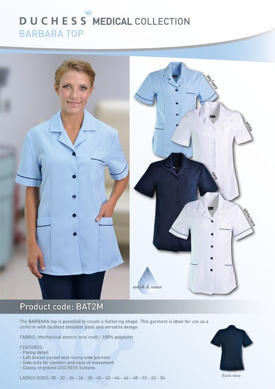 The BARBARA nurses top is panelled to create a flattering shape.This garment is ideal for use as a nurse uniform with its fitted shoulder pads and versatile design.The fitted style make this blouse the perfect top for any ladies medical uniform.    Made from mechanical stretch mini matt - 100% polyester •Left breast pockets •Roomy side pockets •Classy engraved DUCHESS buttons •Piping detail •Ladies sizes: 30 - 32 - 34 - 36 -38 - 40 - 42 - 44 - 46 - 48 - 50 - 52 - 54