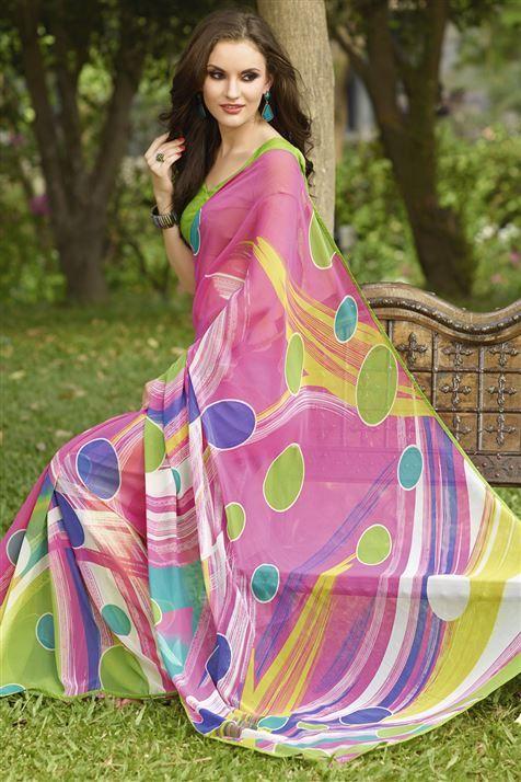 Hot Pink Georgette Geometric Print Saree