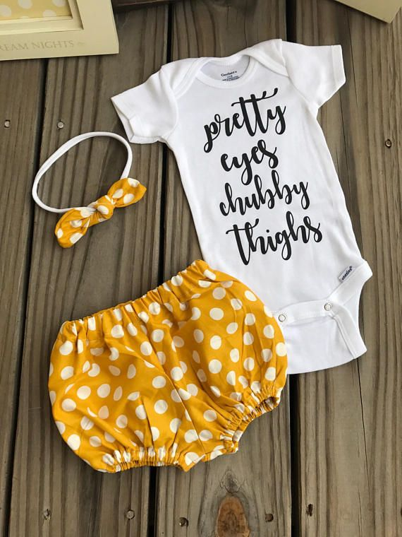 Cuteness overload in this mustard podia dots outfit. How pretty is she going to look in this outfit? This adorable outfit never goes out of style and is always the favorite at every baby shower! A sweet gift for a very special baby girl. If you like something else print in the onesie,