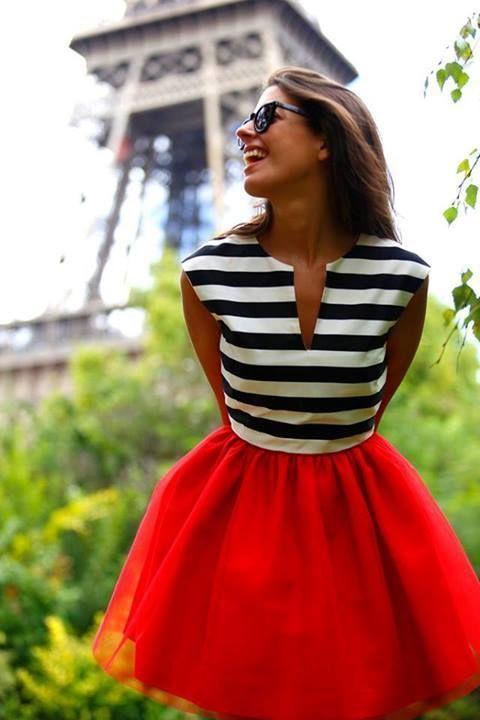red full skirt - Paris style