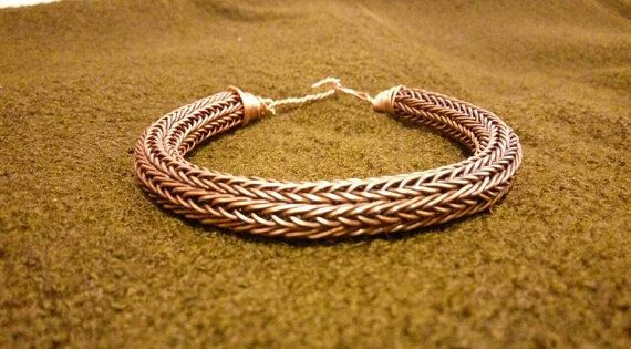 Silver bronze viking bracelet with wolf by Vikingreenactment