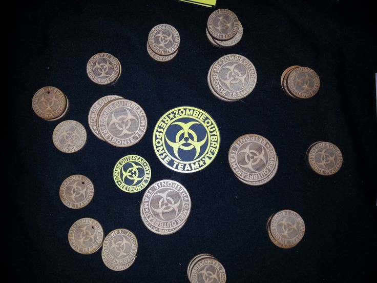 Zombie Coins wood and plastic