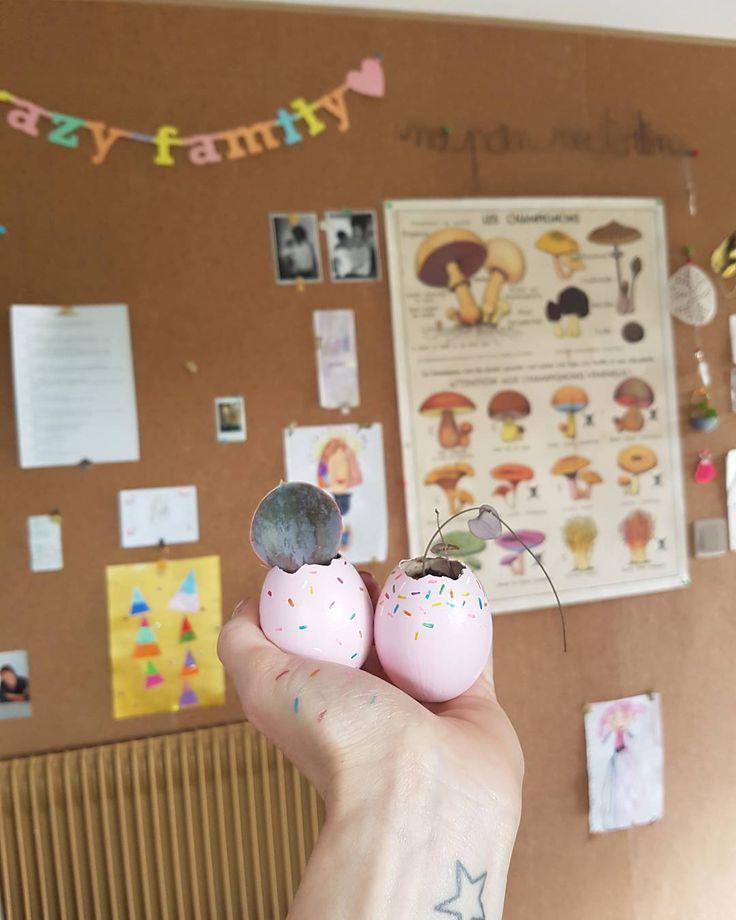 """69 mentions J'aime, 1 commentaires - 1, 2, 3 p'tits pois (@123ptitspois) sur Instagram: """"#atelier #diy spécial #bouture et #paques #oeuf #peinture #donuts #souvenirsdenfance partagés avec…"""""""