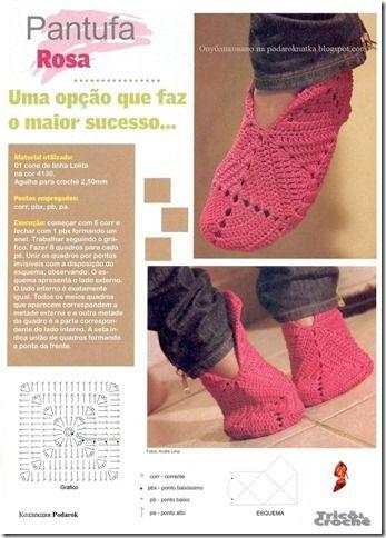 pantufa rosa croche grafico quadros Pantufas de Crochê passo a passo com Gráfico: Pantufa Infantil, fotos