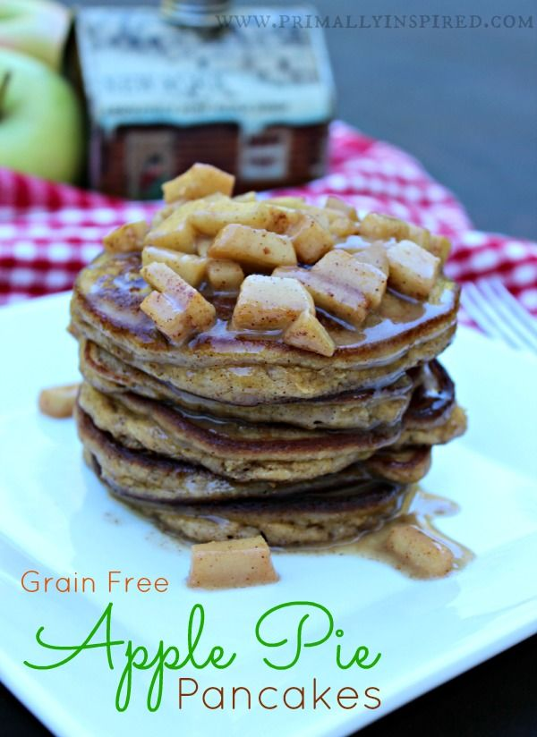 Grain Free Apple Pie Pancakes that are soooooo good! Made with coconut flour. www.PrimallyInspired.com