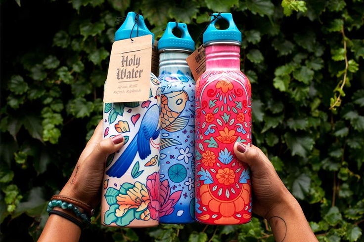 Designed for the homewares retailer Ishka, these 3 water bottles were well received by customers with 100 selling in the first week of sales. The bottle illustrations inspired by Japanese, Chinese and Indian art, focus on having a handmade feel through texture and colour washes. 'Holy Water' encourages people to re-use, re-fill, refresh and replenish . . . which we think is resplendent! (I)