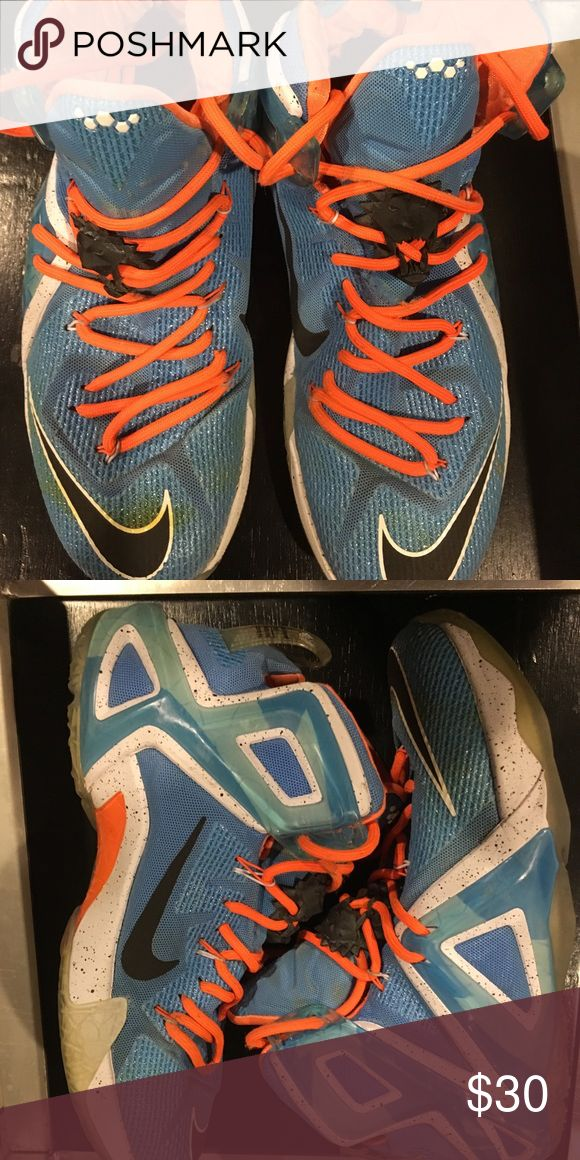 Lebron's Sneakers Pre-loved Lebron's sneakers. 1 shoe string missing the plastic end. Nike Shoes Athletic Shoes