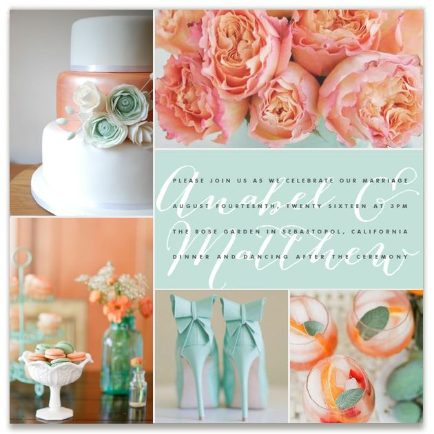 mint + peach Inspiration Board, curated by Madeline at Minted