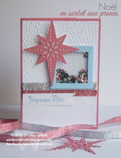 Star of Light bundle shaker card, Softly Falling TIEF, Glitter Ribbon #StarofLight