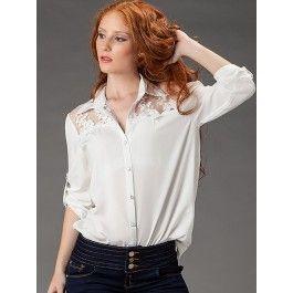 Camisa Blanca con Encaje Online K016