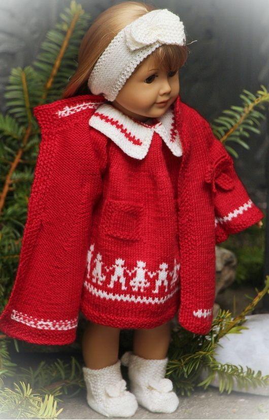 Strikk flotte juleklær til dukken