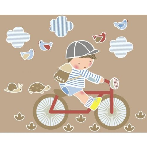 Vinilo infantil: Niño en bici - Vinilos infantiles personalizados