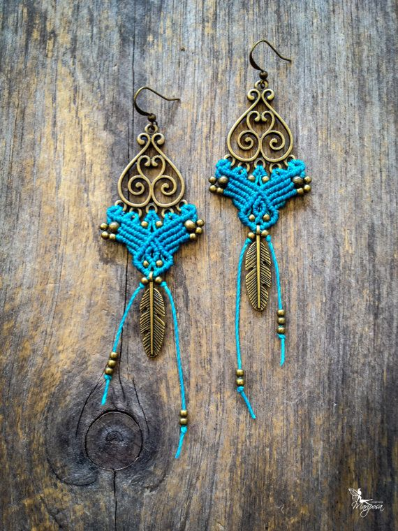 Turquoise Macrame earrings boho chic feather bohemian jewelry by Creations Mariposa READY TO SHIP