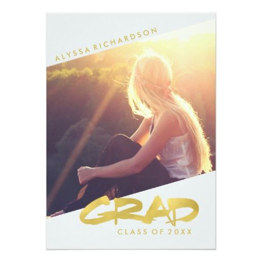 Modern Faux Gold and White Graduation with Photo Card