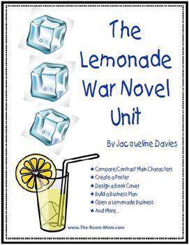 Great literature unit to start the school year-- The Lemonade War by Davies. Many activities and love the create a book cover culminating writing assignment ($). #Backtoschool