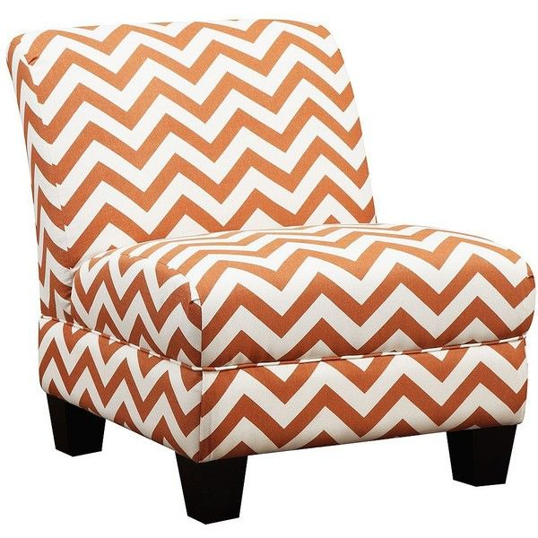 Andee Chevron Orange Armless Accent Chair Found On Polyvore Featuring  Polyvore, Home, Furniture,
