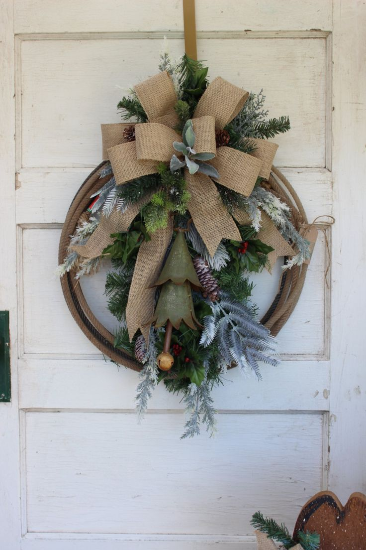 Western Christmas Wreath With Rustic Christmas Tree Lasso Wreath, Rope  Wreath…