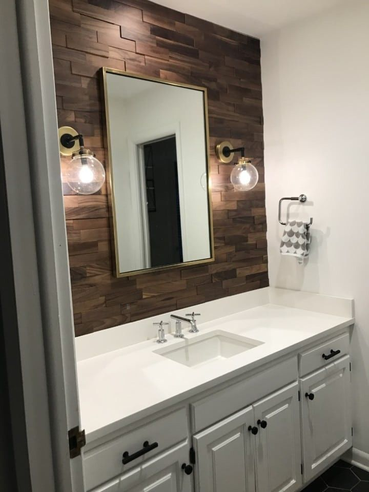 Walnut Mosaic Wood Paneling Img 9524 Wood Wall Bathroom Bathroom Interior Design Bathrooms Remodel