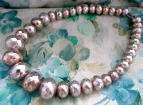 Delightful Vintage 1960s Oversized Silver Variagated Beaded Necklace, Ladies Jewellery, Mod, Kitsch, Baby-Doll, Boho, Retrox