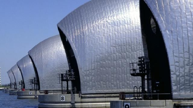 Thames Barrier in London England. Also seen on Dr. Who...