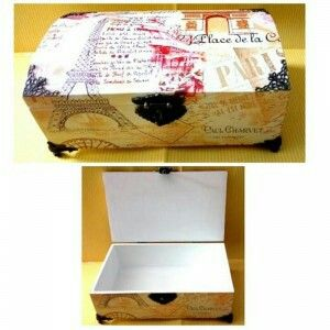 Multifunction box with elegant vintage design ready to decorate your room. Size: 26,5x16x10,5 cm