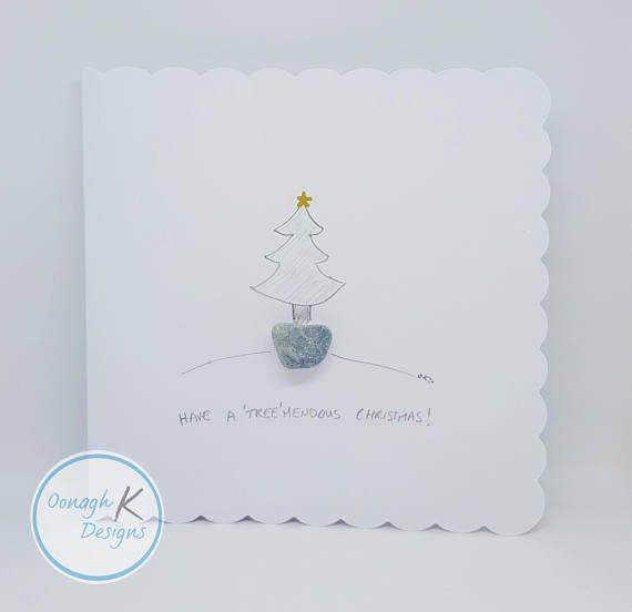 Irish galet Art & Pierre Art carte de Noël   fait à la main en