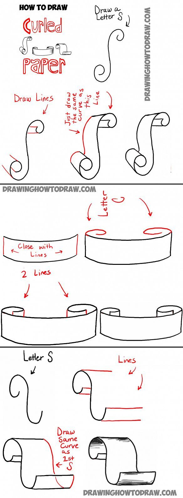 how to draw curled paper - like scrolls