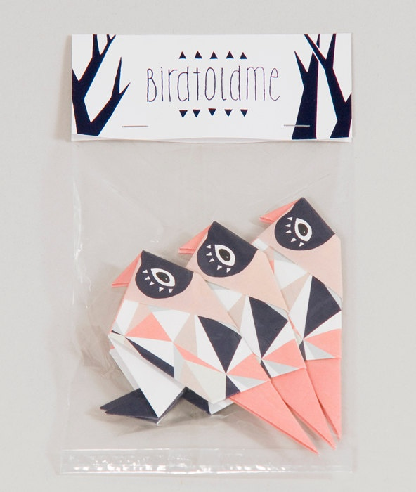 Pack of three origami Birds, folded and packed. via Etsy.